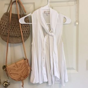 Anthropologie Tie Neck White Blouse